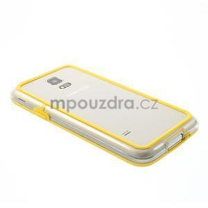 Žlutý gelový kryt s plastovými lemy na Samsung Galaxy S5 mini - 3