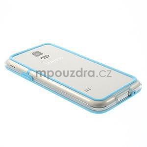 Světle modrý gelový kryt s plastovými lemy na Samsung Galaxy S5 mini - 3