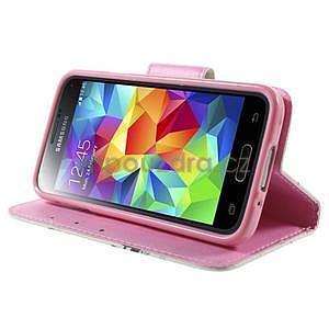 Zapínací peněženkové pouzdro na Samsung Galaxy S5 mini - květinová sova - 3