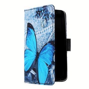 Peněženkové pouzdro na mobil Lenovo A319 - modrý motýl - 3