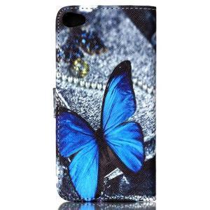 Style peněženkové pouzdro na mobil Lenovo S90 - modrý motýl - 3