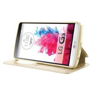 Roar peněženkové pouzdro s okýnkem na LG G3 - zlaté - 3
