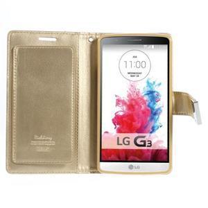 Luxusní PU kožené pouzdro na mobil LG G3 - zlaté - 3