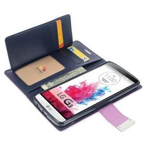 Luxusní PU kožené pouzdro na mobil LG G3 - fialové - 3