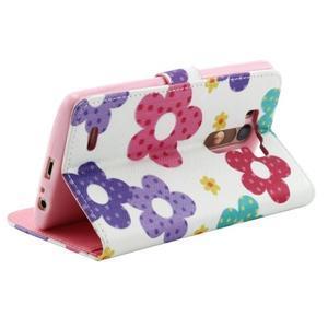 Obrázkové koženkové pouzdro na mobil LG G3 - malované květiny - 3