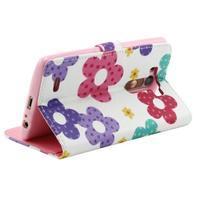 Obrázkové koženkové pouzdro na mobil LG G3 - malované květiny - 3/4