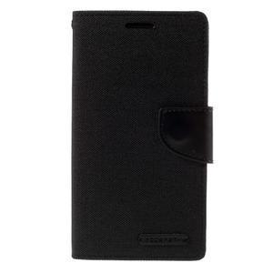 Canvas PU kožené/textilní pouzdro na LG G3 - černé - 3
