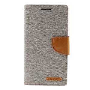 Canvas PU kožené/textilní pouzdro na LG G3 - šedé - 3