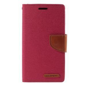 Canvas PU kožené/textilní pouzdro na LG G3 - rose - 3