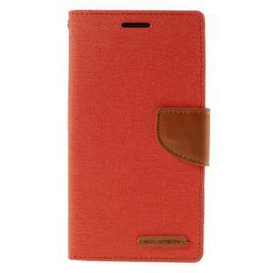 Canvas PU kožené/textilní pouzdro na LG G3 - oranžové - 3
