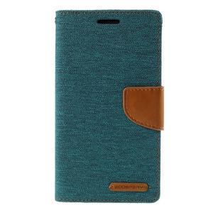 Canvas PU kožené/textilní pouzdro na LG G3 - zelené - 3