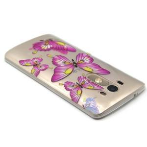 Průhledný gelový obal na LG G3 - motýlci - 3