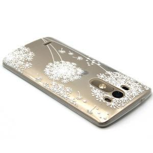 Průhledný gelový obal na LG G3 - bílá pampeliška - 3