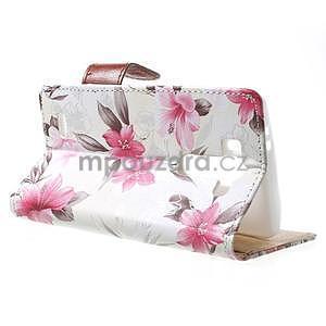 Elegantní lilie peněženkové pouzdro na LG G3 s - bílé - 3