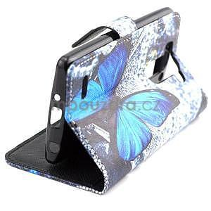Obrázkové peněženkové pouzdro na LG G3 s - modrý motýl - 3