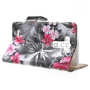 Elegantní lilie peněženkové pouzdro na LG G3 s - černé - 3