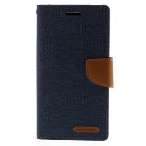 Canvas PU kožené/textilní pouzdro na mobil LG G4 - tmavěmodré - 3