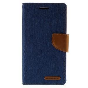 Canvas PU kožené/textilní pouzdro na mobil LG G4 - modré - 3