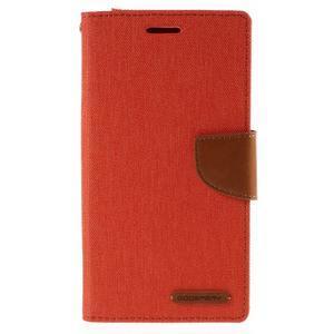 Canvas PU kožené/textilní pouzdro na mobil LG G4 - oranžové - 3