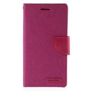 Canvas PU kožené/textilní pouzdro na mobil LG G4 - rose - 3