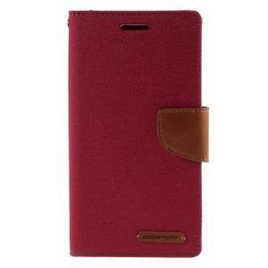 Canvas PU kožené/textilní pouzdro na mobil LG G4 - červené - 3