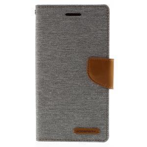 Canvas PU kožené/textilní pouzdro na mobil LG G4 - šedé - 3