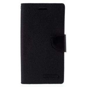 Canvas PU kožené/textilní pouzdro na mobil LG G4 - černé - 3