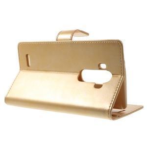 Luxury PU kožené pouzdro na mobil LG G4 - zlaté - 3