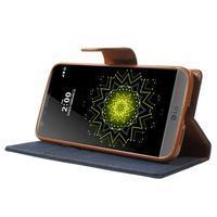 Canvas PU kožené/textilní pouzdro na LG G5 - tmavěmodré - 3/7