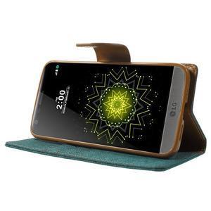 Canvas PU kožené/textilní pouzdro na LG G5 - zelené - 3