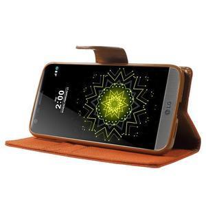 Canvas PU kožené/textilní pouzdro na LG G5 - oranžové - 3