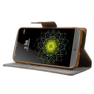 Canvas PU kožené/textilní pouzdro na LG G5 - šedé - 3