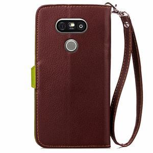 Leaf PU kožené pouzdro na LG G5 - hnědé - 3