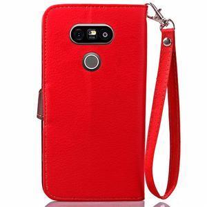 Leaf PU kožené pouzdro na LG G5 - červené - 3