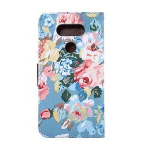 Květinové pouzdro na mobil LG G5 - modrý vzor - 3
