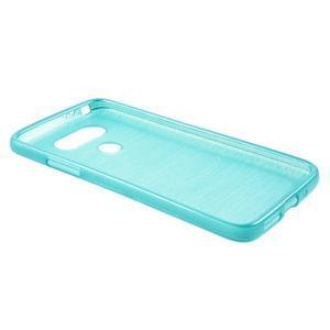 Hladký gelový obal s broušeným vzorem na LG G5 - tyrkysový - 3