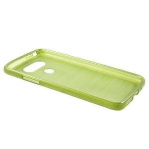 Hladký gelový obal s broušeným vzorem na LG G5 - zelený - 3