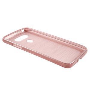 Hladký gelový obal s broušeným vzorem na LG G5 - růžový - 3