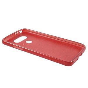 Hladký gelový obal s broušeným vzorem na LG G5 - červený - 3