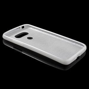 Hladký gelový obal s broušeným vzorem na LG G5 - bílý - 3
