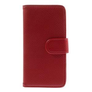 Folio PU kožené pouzdro na mobil HTC Desire 510 - červené - 3