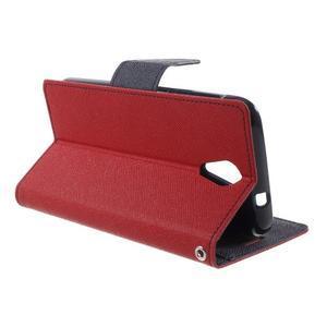 Diary PU kožené pouzdro na mobil HTC Desire 620 - červené - 3