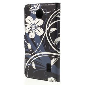 Zapínací peněženkové pouzdro Huawei Y635 -  bílá květina - 3