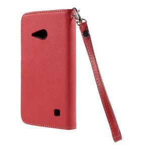 PU kožené pouzdro se zapínáním na Nokia Lumia 730/735 - červené - 3