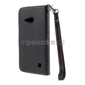 PU kožené pouzdro se zapínáním na Nokia Lumia 730/735 - černé - 3
