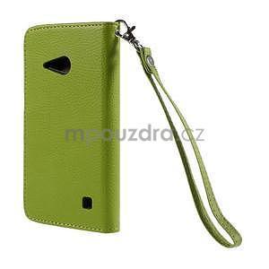 PU kožené pouzdro se zapínáním na Nokia Lumia 730/735 - zelené - 3