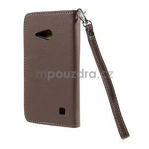 PU kožené pouzdro se zapínáním na Nokia Lumia 730/735 - hnědé - 3