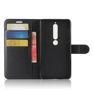 Litchi PU kožené pouzdro na Nokia 6.1 - černé - 3