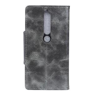 Retro PU kožené pouzdro na Nokia 6.1 - šedé - 3
