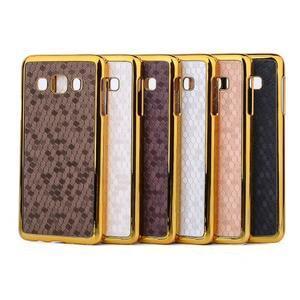 Elegantní obal na Samsung Galaxy A3 - hnědy se zlatým lemem - 3